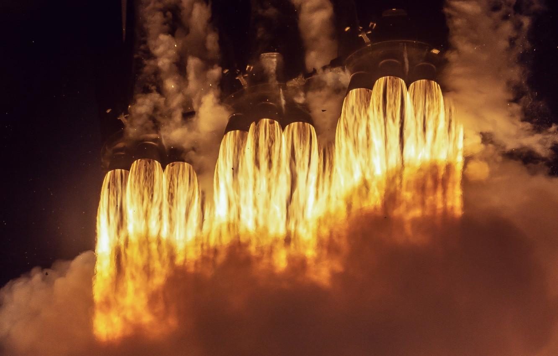 Wallpaper Heat Fire Rocket Spacex Booster Falcon Heavy
