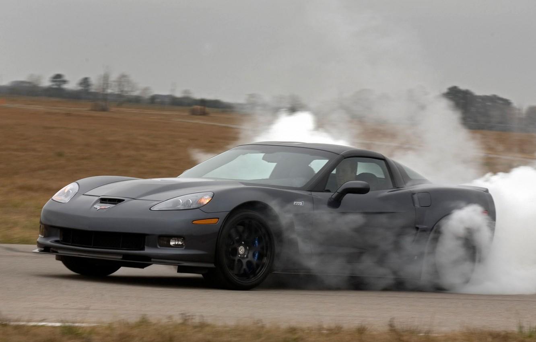 Photo wallpaper Corvette, Chevrolet, Smoke, Vehicle