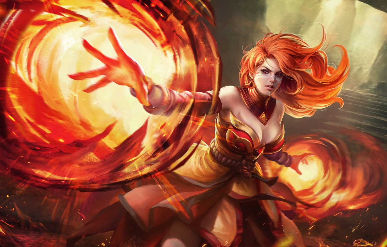Photo wallpaper Girl, Fire, Style, Girl, Magic, Flame, Fire, Art, Art, Flame, Assassin, Red, Style, Fiction, Fiction, …