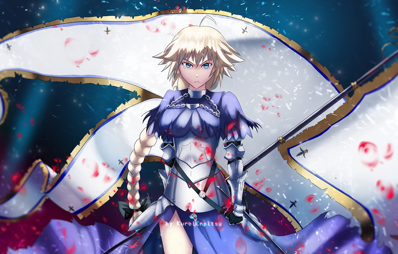 Photo wallpaper girl, flag, Joan of arc, Fate / Grand Order, The destiny of a great campaign
