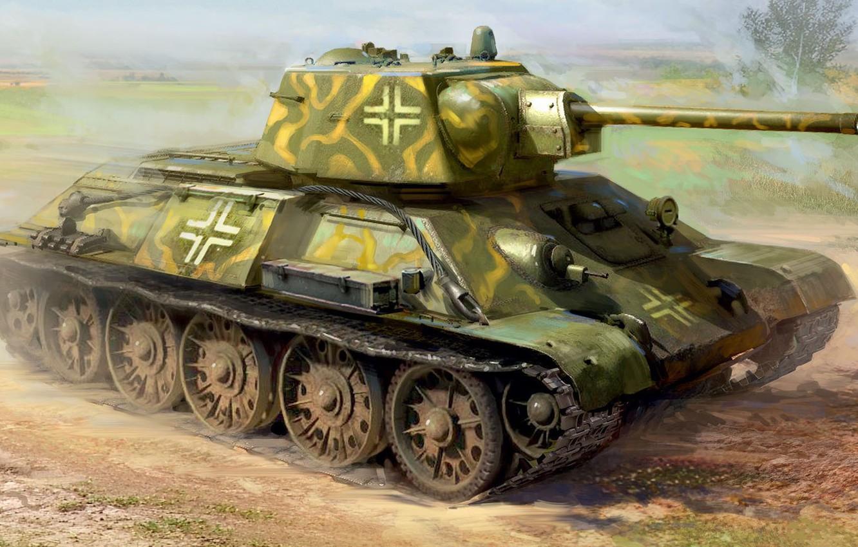 Photo wallpaper Germany, tank, the Wehrmacht, average, panzerwaffe, Ivan Hurenko, Trophy, t-34-76