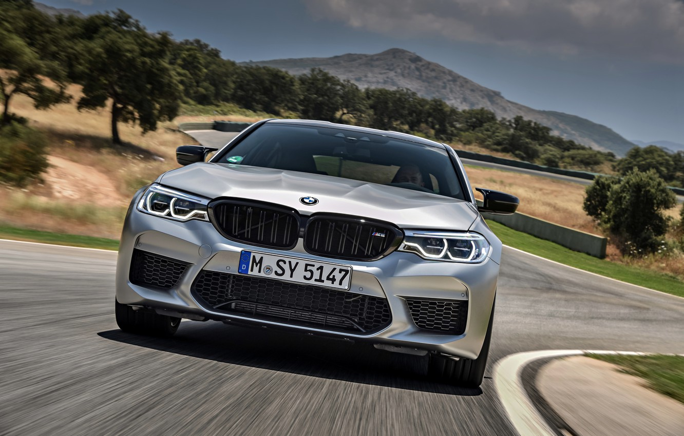 Photo wallpaper grey, BMW, sedan, track, the front, 4x4, 2018, four-door, M5, V8, F90, M5 Competition
