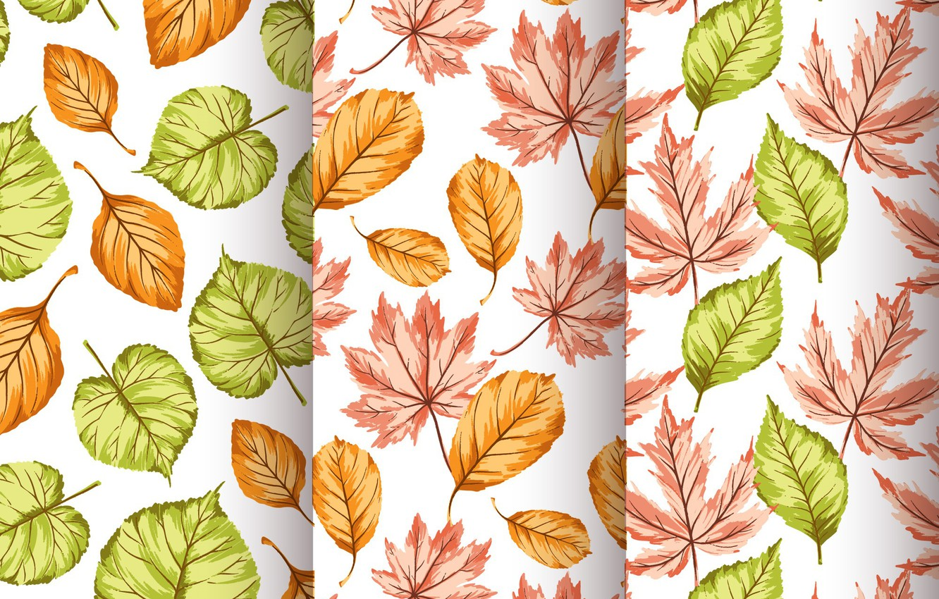 Photo wallpaper background, texture, leaves, autumn, pattern, Seamless