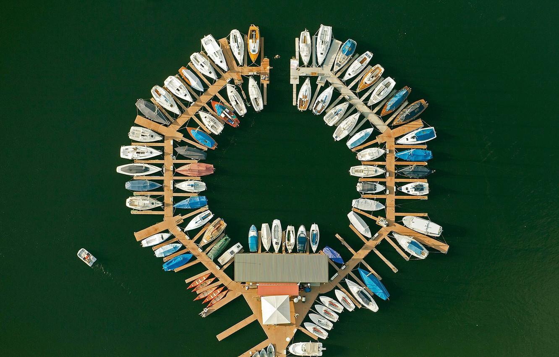 Photo wallpaper boats, Germany, pier, North Rhine-Westphalia, The Eifel national Park