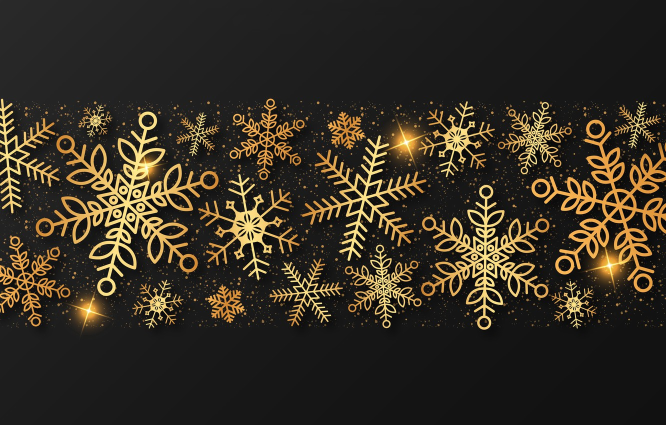 Photo wallpaper winter, snowflakes, gold, New Year, Christmas, golden, black background, gold, black, Christmas, winter, background, New …