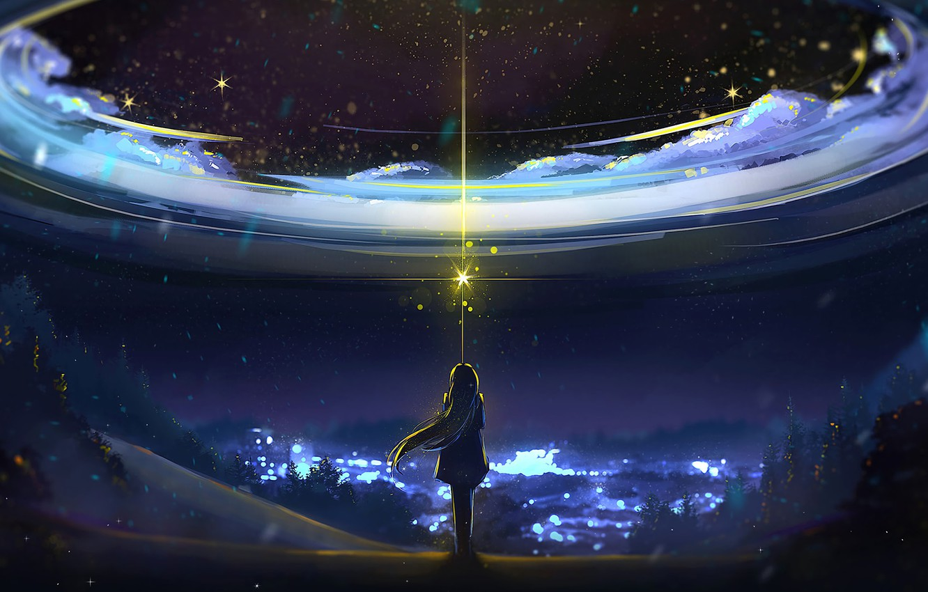 Photo wallpaper Sky, Anime, Night, Scenery