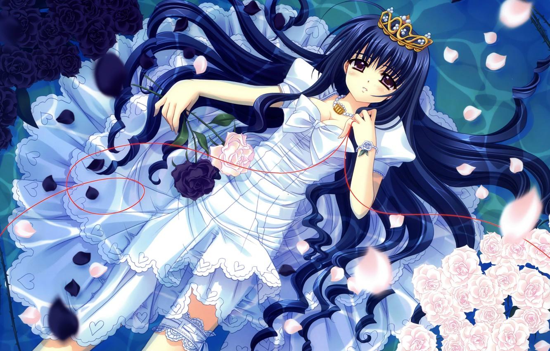 Photo wallpaper crown, girl, white dress, long hair, white roses, is in the water, black roses, garter …