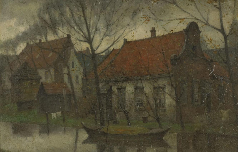 Photo wallpaper landscape, oil, Village, canvas, 1900, Johann Eduard Carsen, Eduard Karsen