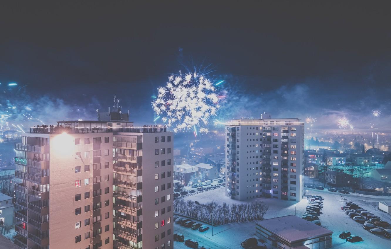 Photo wallpaper the sky, trees, machine, night, street, home, roof, fireworks