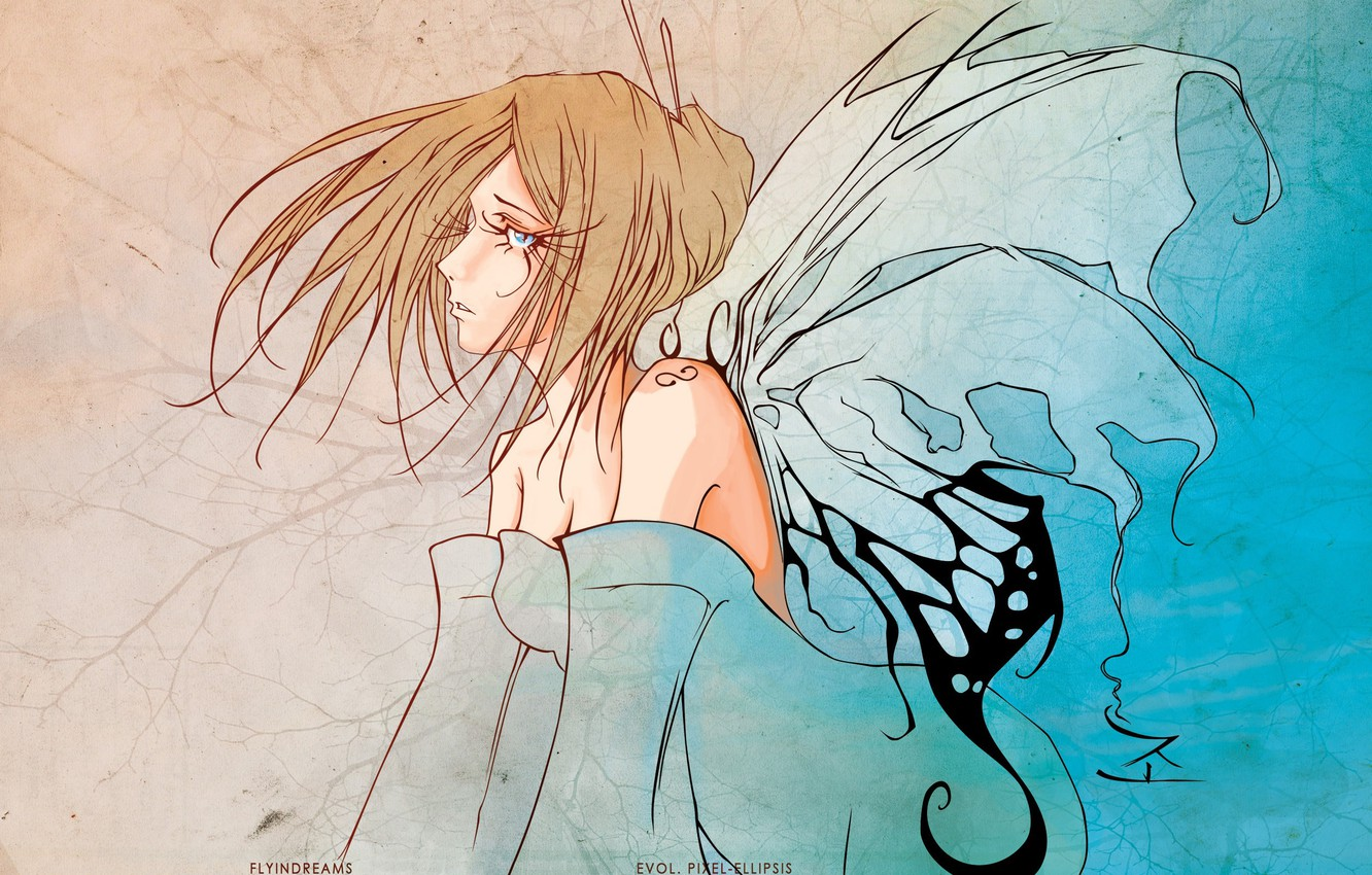 Photo wallpaper eyelashes, fairy, neckline, blue eyes, shoulders, the wings of a butterfly, girl-butterfly