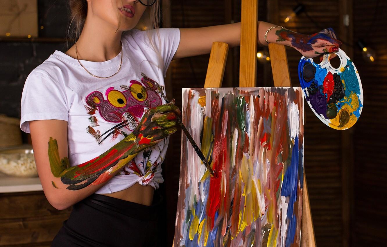 Photo wallpaper paint, Girl, glasses, t-shirt, palette, brush, canvas, Cyril Zakirov, Nastya Pavlova