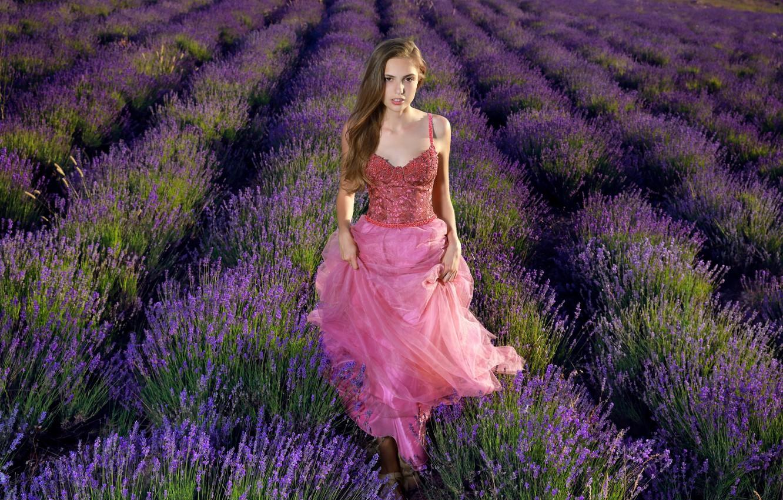 Photo wallpaper look, nature, dress, lavender, It Tan