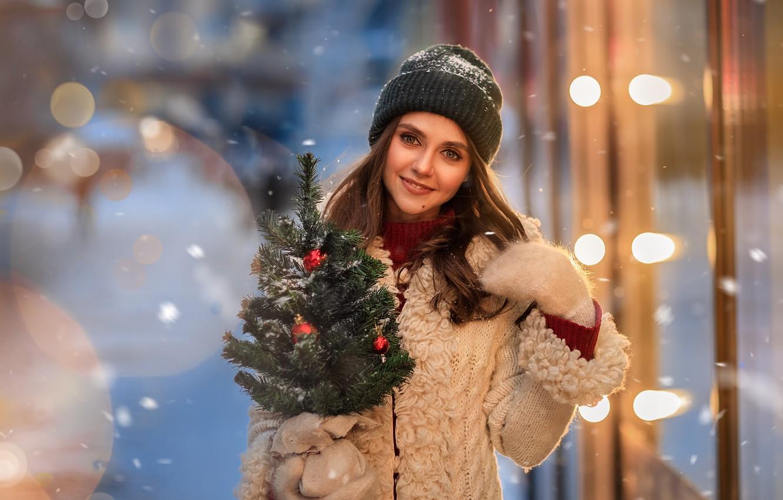 Photo wallpaper girl, snow, smile, mood, sweetheart, hat, herringbone, mittens, Юлия Московкина