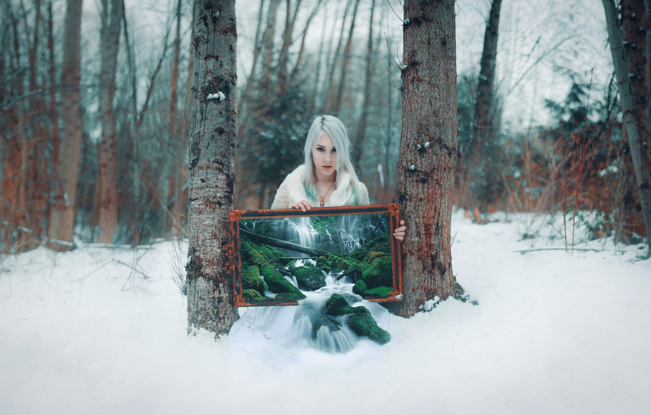 Photo wallpaper forest, girl, style, waterfall, picture, fantasy, blonde, image, photoart, Kindra Nikole