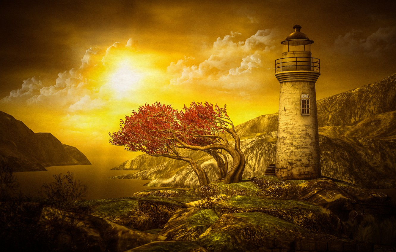 Photo wallpaper sea, autumn, the sky, the sun, clouds, light, landscape, sunset, mountains, branches, nature, stones, rendering, …