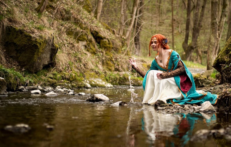 Photo wallpaper stream, river, sitting, cosplay, Triss Merigold, Triss Merigold, The Witcher 3 Wild Hunt, Rozari Cosplay