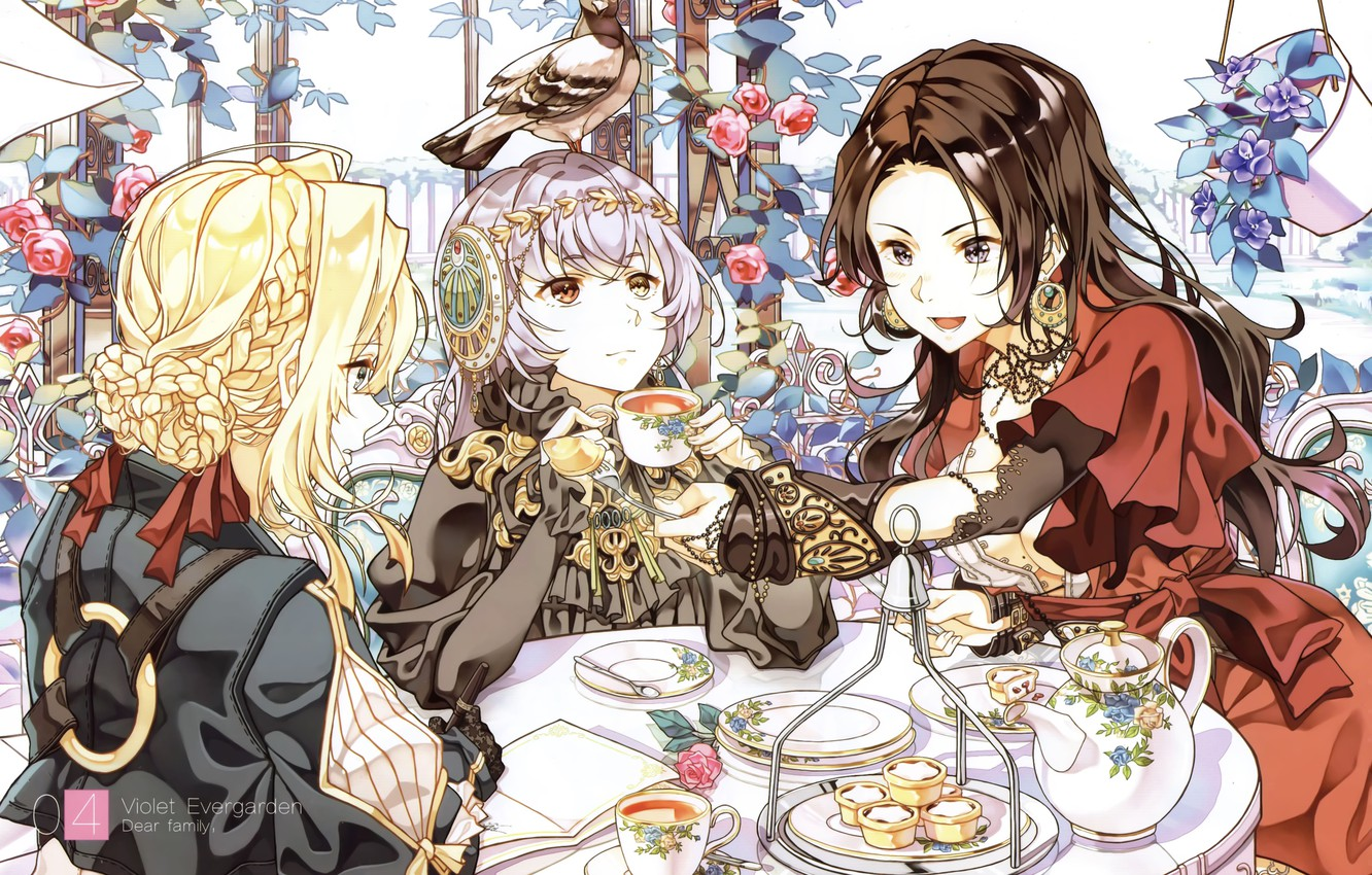 Photo wallpaper dove, hairstyle, the tea party, sweets, plates, red dress, gazebo, set, treat, three girls, the …