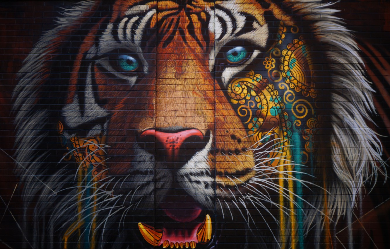 Photo wallpaper colorful, wall, Tiger, texture, bricks, animal, artwork, wild cat, street art, catch, ornamented