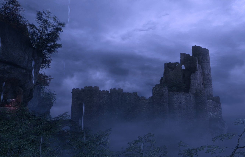 Photo wallpaper night, castle, rain, a plague tale: innocence