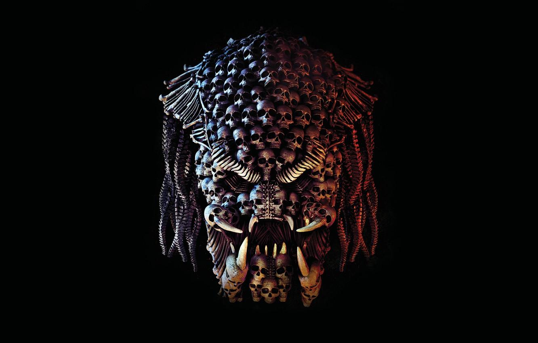Photo wallpaper creative, fiction, fangs, skull, Predator, black background, Thriller, action, horror, The Predator