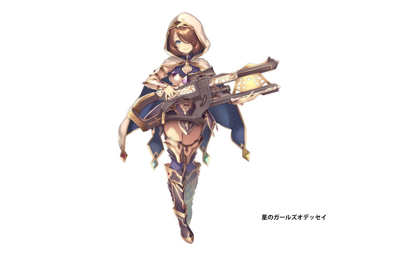 Photo wallpaper smile, hood, girl, white background, cloak, high boots, super-weapons