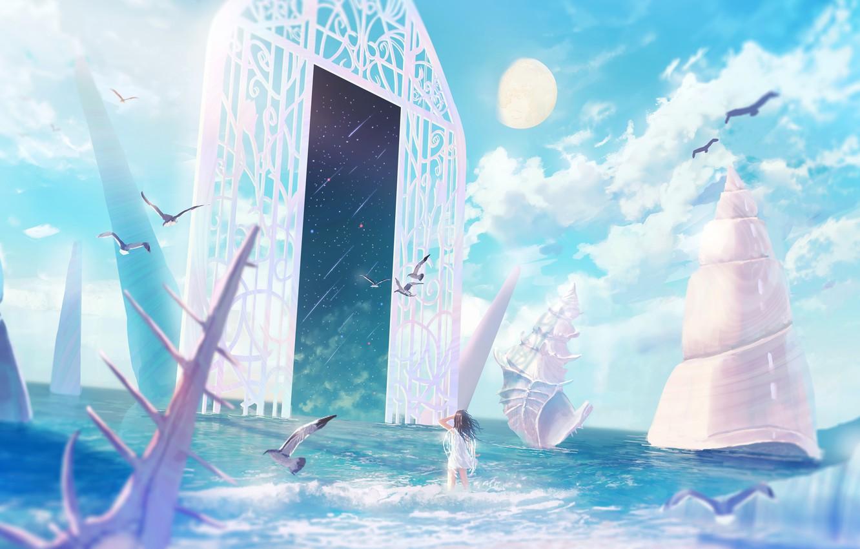 Photo wallpaper sea, girl, space, the moon, seagulls, the portal