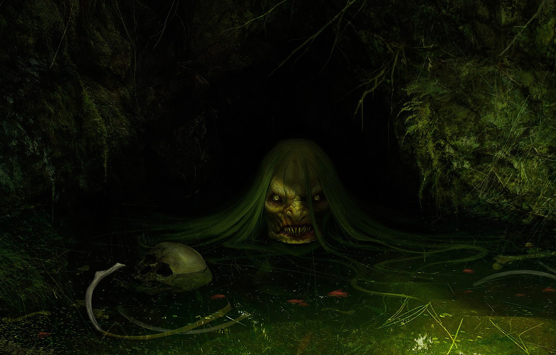 Photo wallpaper swamp, art, fright, fantasy, Daniel Jiménez Villalba, Jenny Greenteeth