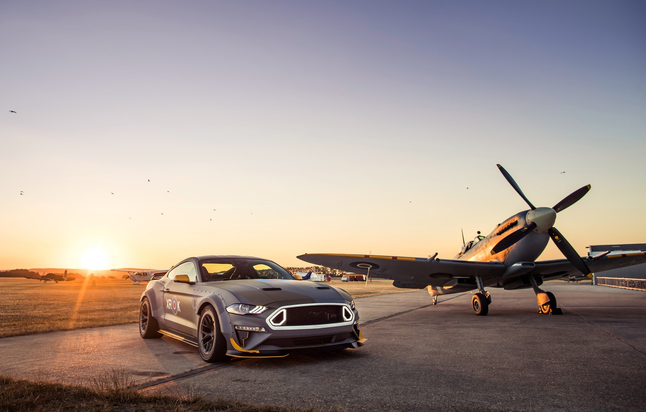 Photo wallpaper sunset, Ford, RTR, 2018, Mustang GT, Eagle Squadron