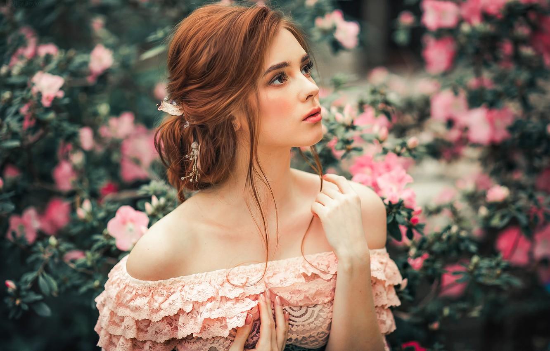 Photo wallpaper look, girl, flowers, face, hair, portrait, neckline, lace, shoulders, bokeh, Olga Boyko, Alexander Gir