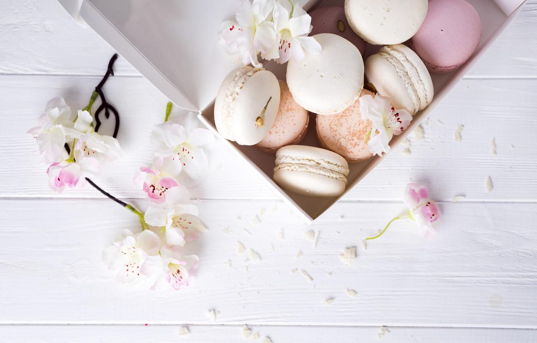 Photo wallpaper flowers, colorful, cake, flowers, cakes, sweet, dessert, french, macaron, pastel, macaroon