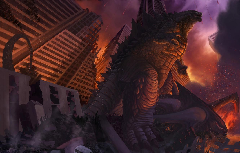 Wallpaper Figure The City Fire Monster Lizard Destruction