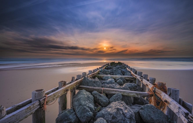 Photo wallpaper sea, sunset, bridge, shore