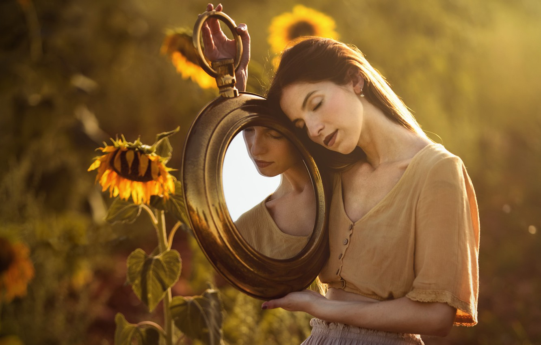 Photo wallpaper summer, girl, sunflowers, mirror