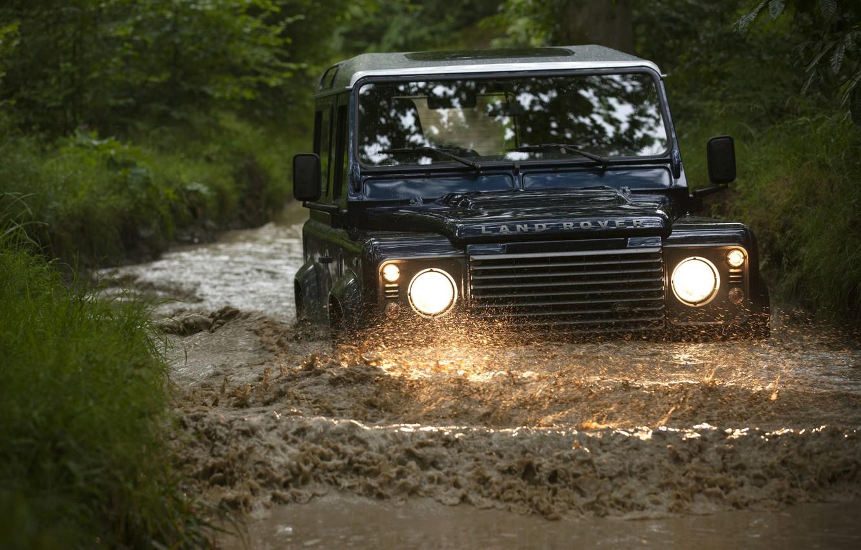 Photo wallpaper Land Rover, Defender, ditch, 2013, Defender 90