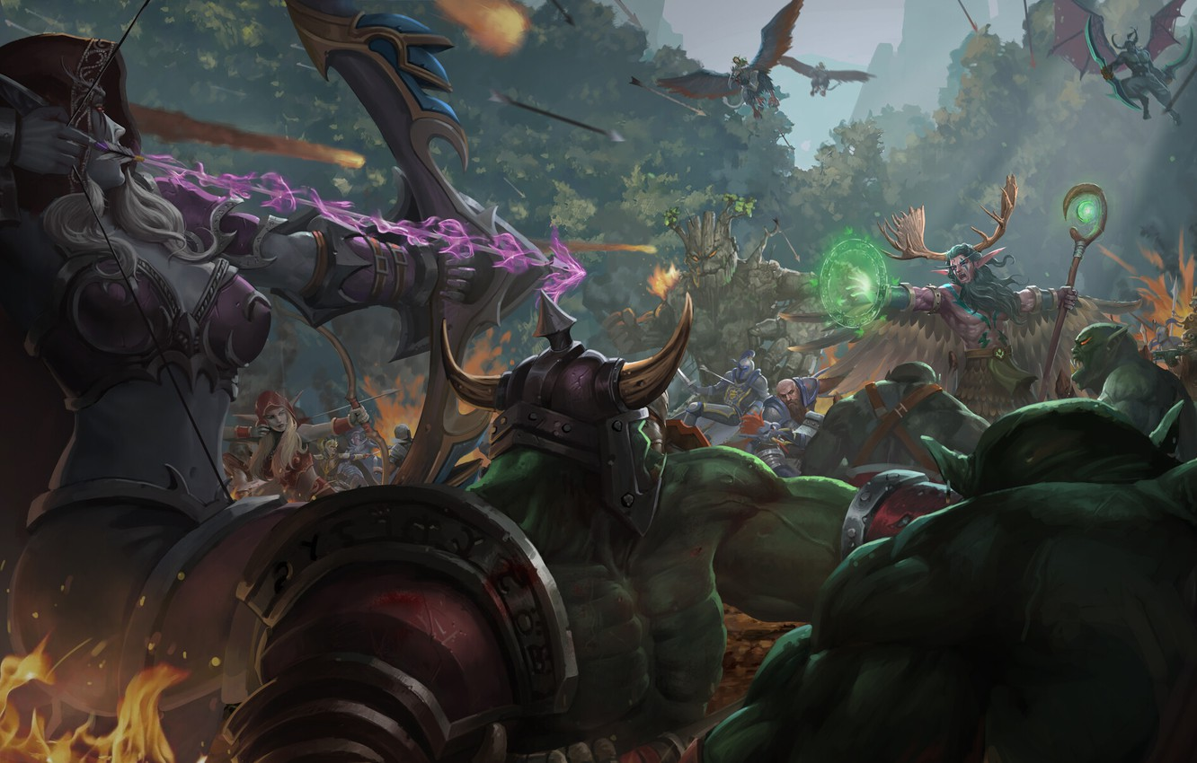 Wallpaper People Elves Battle Wow Alliance Blizzard Art Art