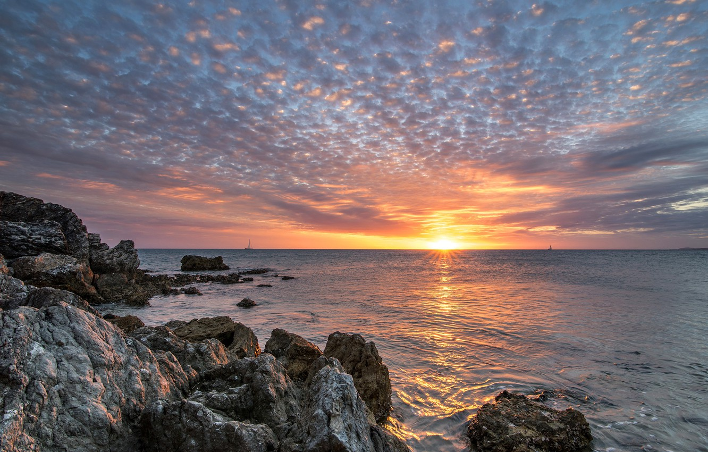 Photo wallpaper sea, the sky, sunset, rocks, France, New-Caledonia