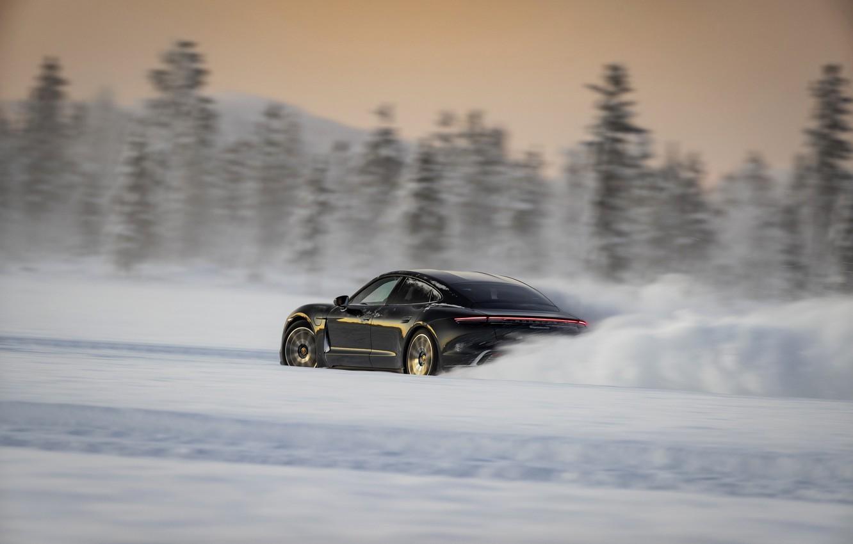 Photo wallpaper winter, snow, black, Porsche, track, 2020, Taycan, Taycan 4S