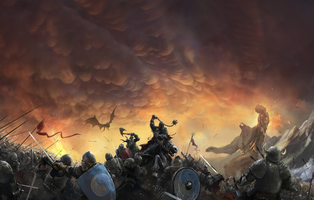 Photo wallpaper The sky, Dragon, War, Armor, Clouds, Battle, Soldiers, Knights, Battle, Fantasy, Clouds, Sky, Dragon, Fiction, ...