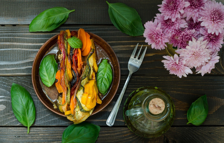 Photo wallpaper flowers, food, wood, salad, appetizer, Basil