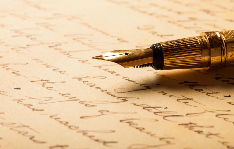 Photo wallpaper metal, paper, pen, writing