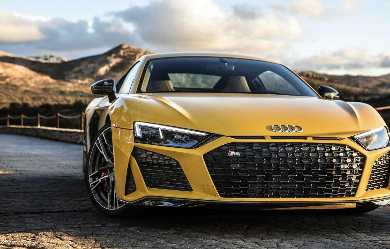 Photo wallpaper Yellow, Road, Audi R8 V10