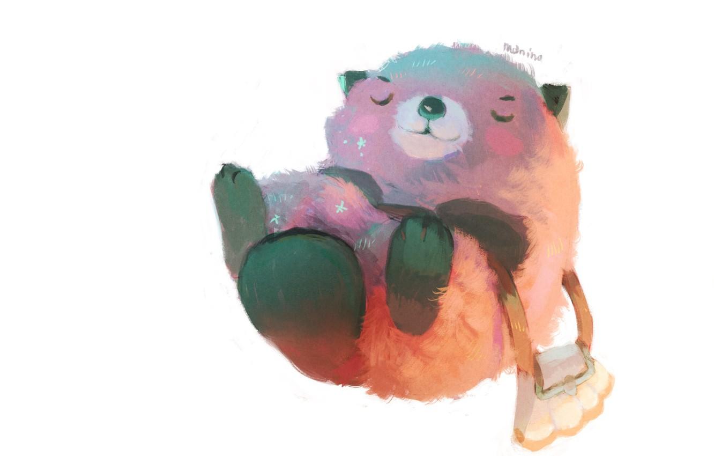 Photo wallpaper bag, beaver, lying on her back, by Manino