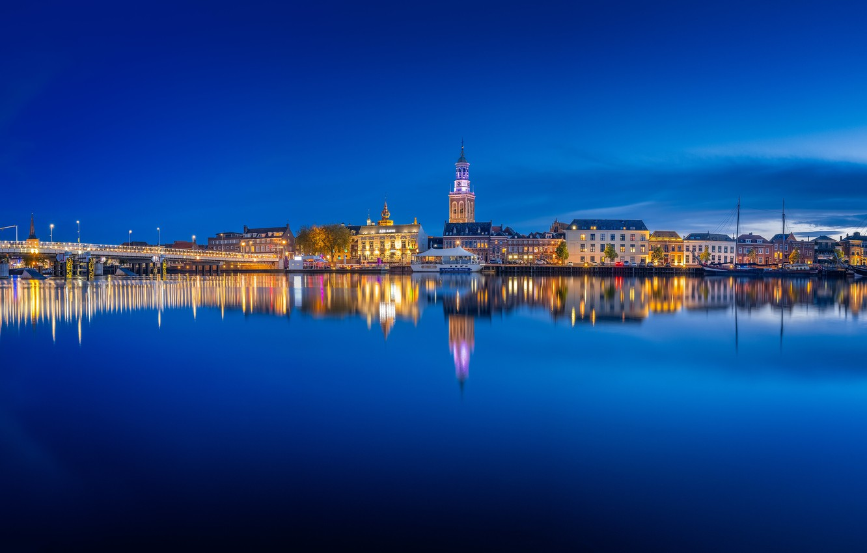 Photo wallpaper lights, the evening, panorama, Netherlands, Holland, Kampen