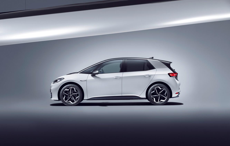 Photo wallpaper white, Volkswagen, side, 2020, Worldwide, ID.3, 1ST