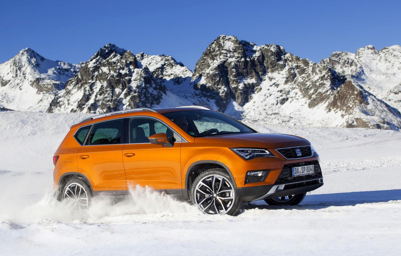 Photo wallpaper snow, mountains, tops, SUV, Seat, 2017, 4Drive, Ateca