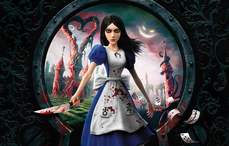Photo wallpaper girl, window, knife, Alice: Madness Returns