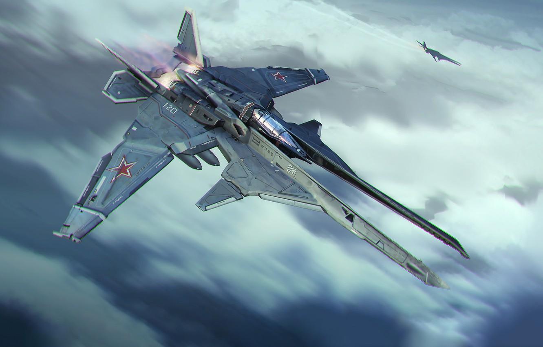 Photo wallpaper The sky, Future, The plane, Flight, Fighter, Russia, Art, Art, Fiction, Jet, Concept Art, Transport, ...