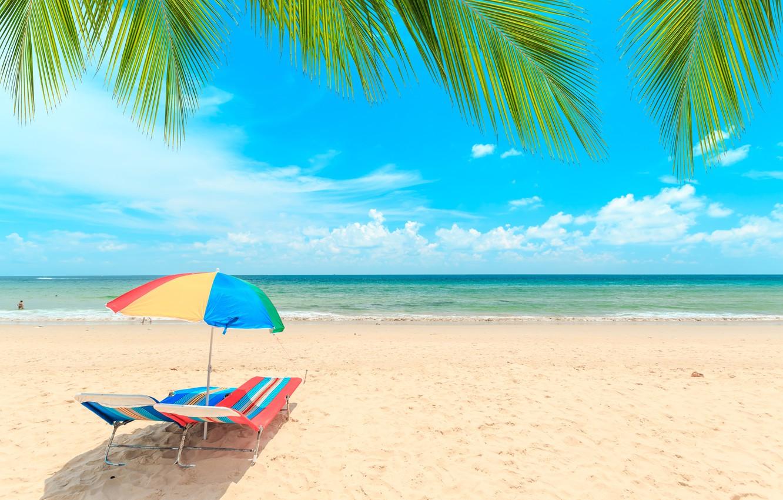 Photo wallpaper sand, sea, wave, beach, summer, the sky, palm trees, shore, chaise, summer, beach, sea, seascape, …