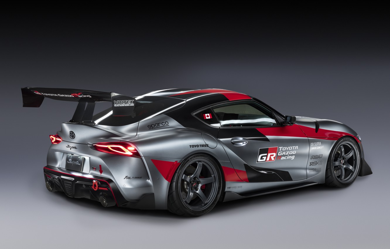 Photo wallpaper grey, background, coupe, Toyota, wing, 2020, GR Supra Track Concept