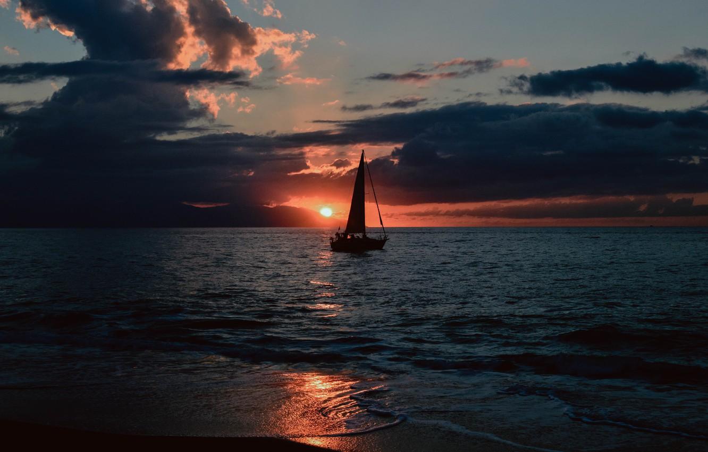 Photo wallpaper waves, beach, sky, sea, ocean, landscape, nature, sunset, water, clouds, evening, sun, dusk, boat, seashore, …